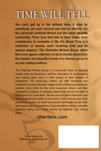 The back cover of Charlotte Writers Group anthology, It's About Time