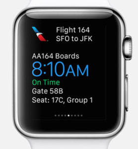Apple Watch boarding pass  may have you on time..
